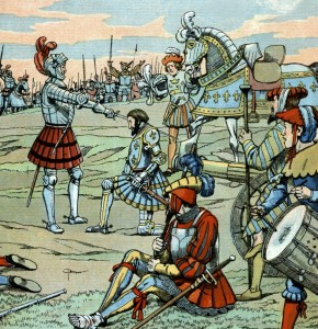 B Bayard fait François 1er Chevalier par Bayard à Marignan en septembre 1515.