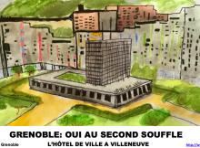 Un dessin symbolise l'installation des bureaux de la mairie à Villeneuve