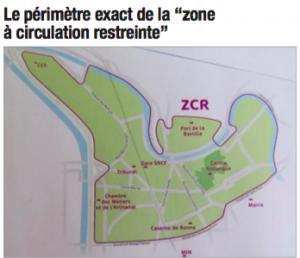 """La zone de circulation restreinte publiée par le """"Dauphiné Libéré"""" comprend la future zone d'Agate Sembat fermée à la circulation"""
