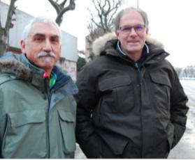 Patrick Drahe, coprésident de l'Association des habitants du quartier de l'Esplanade, et Yves Delahaye, président de l'Union des commerçants et des professionnels de l'Esplanade ( photo le DL)
