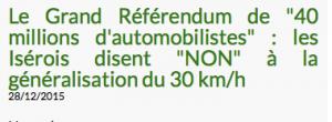 21 000 personnes ont voté pour le référendum de 40 millions d'automobilistes: 70 % contre la généralisation partout de la zone 30