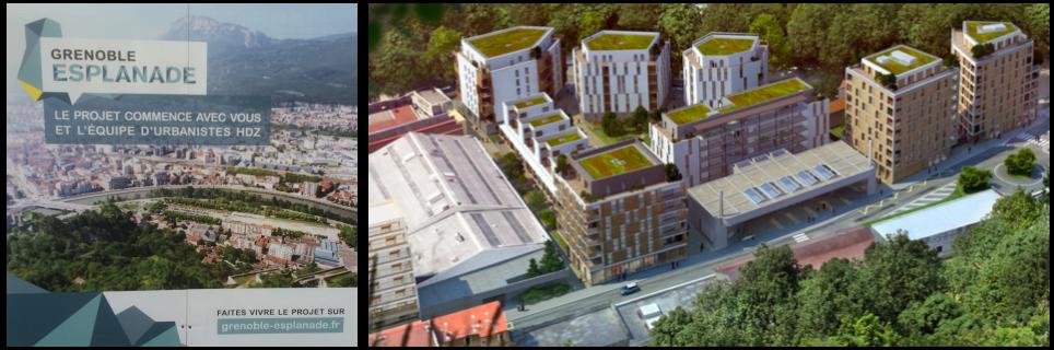 """A ma gauche le panneau d'affichage de PIolle """" le projet commence avec vous"""", à ma droite le rendu avec 2000 habitants entassés sans espaces verts ni parking"""