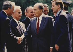 François Mitterrand, Guy Cabanel , Jean Boyer et Alain Carignon