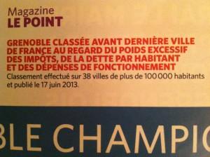 """Un an avant les municipales """"Le Point"""" classait Grenoble avant dernière. Cela n'a pas empêché les Grenoblois de voter pour ceux qui les avaient amené là. Maintenant la ville est dernière."""