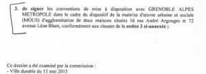 la délibération d'acquisition signée Vincent Fristot (Verts/Ades)