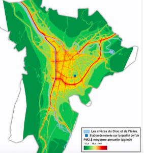 La carte de la pollution qui accable E.Piolle et C.Ferrari : les deux principales sources de pollution de l'agglo sont les deux bouchons qu'ils ont refusé de débloquer jusque là par idéologie: A 480 et la rocade Sud