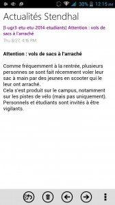 L'avertissement de l'Université Stendhal distribué au moment des inscriptions...