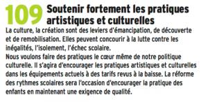 """En supprimant ou baissant ou prenant en mains des théâtres en direct la municipalité agit à l'opposé de cet """"engagement"""". En faisant payer le soutien scolaire aux familles elle réduit l'accès à la culture."""