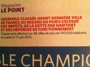 """Dés 2013 """" Le Point"""" avait classé Grenoble avant dernière grande ville de France sur trois critères: impôts, dette et fonctionnement."""